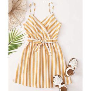 Shein Surplice Nice Stripe Two Tone Dress